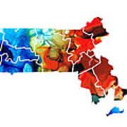 Massachusetts - Map Counties By Sharon Cummings Art Print by Sharon Cummings