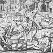 Massacre Of Christian Missionaries Art Print by Theodore De Bry