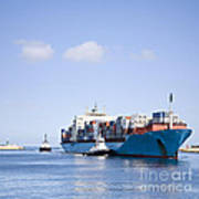 Massive Container Ship Entering River Mouth Assisted By Two Tugs Art Print