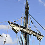 Mast And Rigging On A Replica Of The Christopher Columbus Ship P Art Print