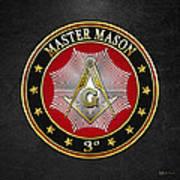 Master Mason - 3rd Degree Square And Compasses Jewel On Black Leather Art Print