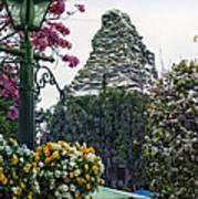 Matterhorn Mountain With Flowers At Disneyland Art Print