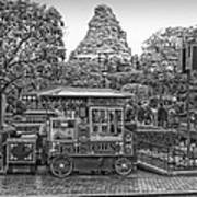 Matterhorn Mountain With Hot Popcorn At Disneyland Bw Art Print