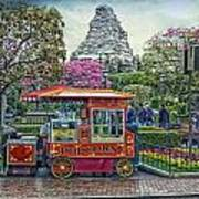 Matterhorn Mountain With Hot Popcorn At Disneyland Textured Sky Art Print