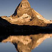 Matterhorn Reflected In Riffelsee Lake  Art Print