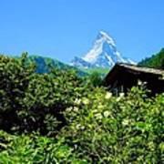 Matterhorn With Mountain Chalet Art Print