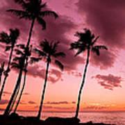 Maui Silhouette Sunset Art Print