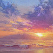 Coastal Hawaiian Beach Sunset Landscape And Ocean Seascape Art Print