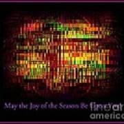 May The Joy Of The Season Be Upon You - Christmas Lights - Holiday And Christmas Card Art Print