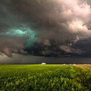 May Thunderstorm - Storm Twists Over House On Colorado Plains Art Print