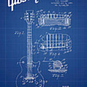 Mccarty Gibson Les Paul Guitar Patent Drawing From 1955 - Bluepr Art Print