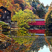 Mcconnell's Mill And Covered Bridge Art Print
