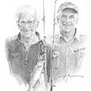 Me And Dad Fishing Pencil Portrait  Art Print