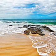 Meandering Waves On Tropical Beach Art Print