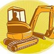 Mechanical Digger Excavator Retro Art Print by Aloysius Patrimonio