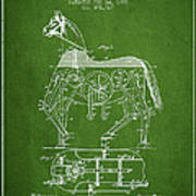 Mechanical Horse Patent Drawing From 1893 - Green Art Print
