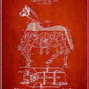 Mechanical Horse Patent Drawing From 1893 - Red Art Print
