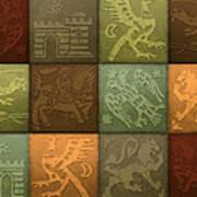 Medieval 12-tile Collage Autumn Colors Art Print