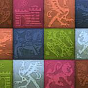 Medieval 12-tile Collage Spring Colors Art Print
