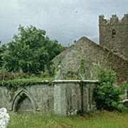 Medieval Church And Churchyard Art Print