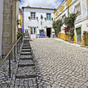 Medieval Cobblestone Street In The Fortified Walled European Village Of Obidos Art Print
