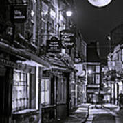 Medieval Street In York Bw Art Print
