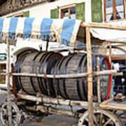 Medieval Wagon Used For Transporting Wine Art Print by Elzbieta Fazel