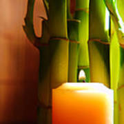 Meditation Candle And Bamboo Art Print by Olivier Le Queinec