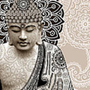 Meditation Mehndi - Paisley Buddha Artwork - Copyrighted Art Print