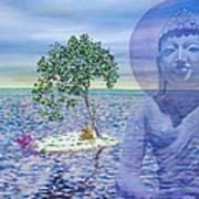 Meditation On Buddha Blue Art Print by Dominique Amendola