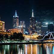 Melbourne In Night Art Print