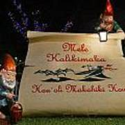 Mele Kalikimaka Sign And Elves Art Print