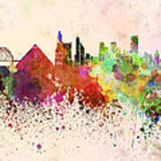 Memphis Skyline In Watercolor Background Art Print