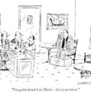 Men In A Restaurant Discuss A Patron Whose Feet Art Print