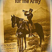 Men Wanted For The Army Poster No Date Ghost Town South Pass City Wyoming 1971 Vignetted Toned 2008 Art Print