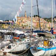 Menton, France.  View Over Harbour Art Print