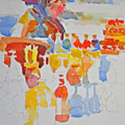 Mercado Lady With Bottles Art Print