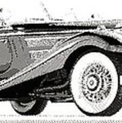 Mercedes 540k  - Parallel Hatching Art Print