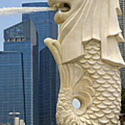Merlion Statue By Singapore River Art Print