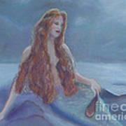 Mermaid In Moonlight Art Print