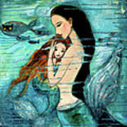 Mermaid Mother And Child Print by Shijun Munns