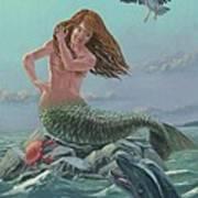 Mermaid On Rock Art Print