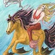 Mermaid Sea Horse Dolphin Fantasy Cathy Peek Art Print