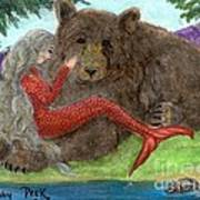 Mermaids Bear Cathy Peek Fantasy Art Art Print