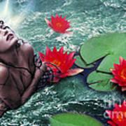 Mermeid And Water Lilies Art Print