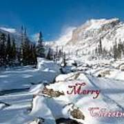Merry Christmas Snowy Mountain Scene Art Print