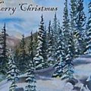 Merry Christmas - Winter Trees And Mountains Art Print