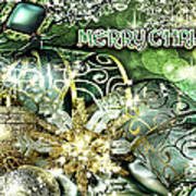 Merry Christmas Green Print by Mo T
