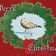 Merry Christmas Greeting Card - Young Seagull Art Print