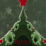 Merry Christmas Greeting - Tree And Star Fractal Art Print